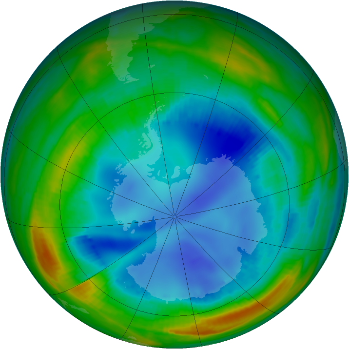 Antarctic ozone map for 07 August 1998