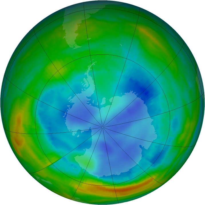 Antarctic ozone map for 08 August 1998