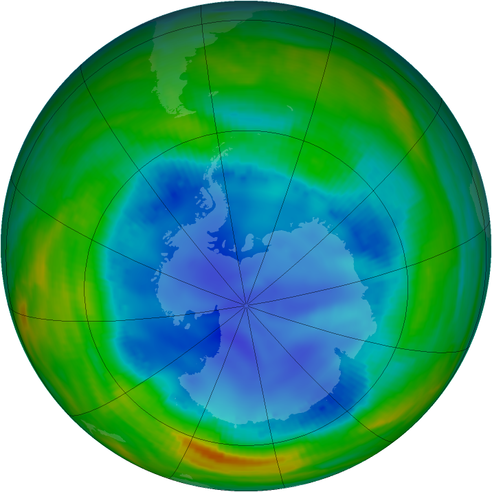 Antarctic ozone map for 09 August 1998