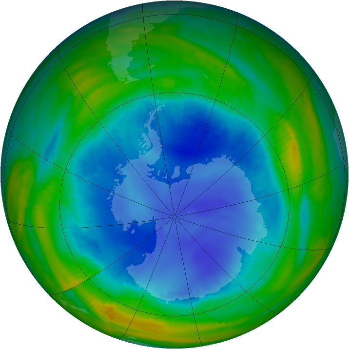 Antarctic ozone map for 11 August 1998