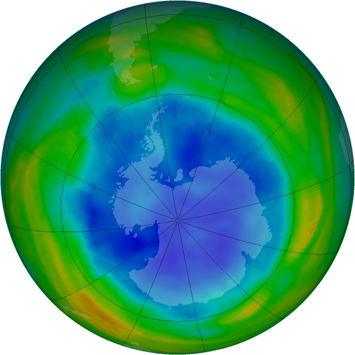 Antarctic ozone map for 12 August 1998