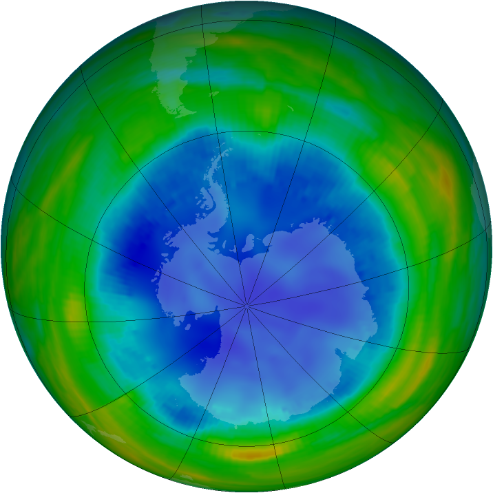 Antarctic ozone map for 13 August 1998