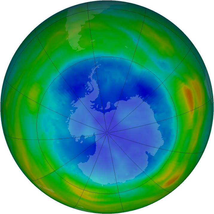 Antarctic ozone map for 14 August 1998