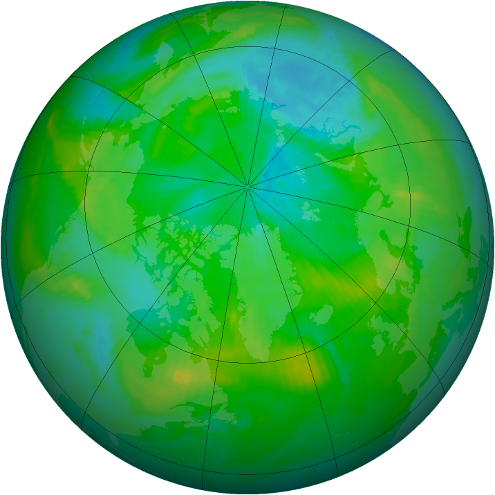 Arctic ozone map for 18 August 1998
