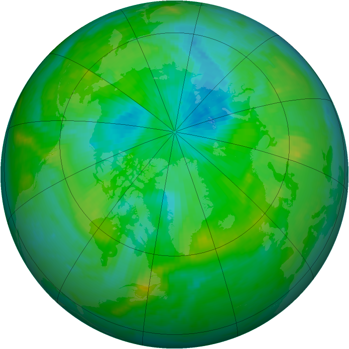 Arctic ozone map for 20 August 1998