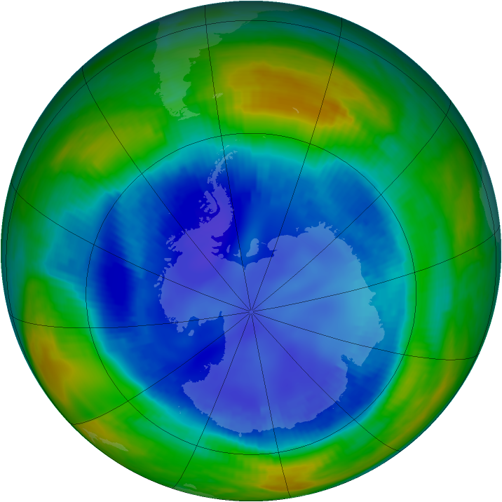 Antarctic ozone map for 21 August 1998