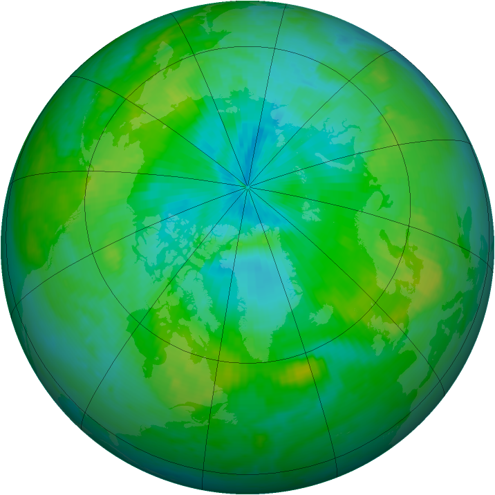 Arctic ozone map for 22 August 1998
