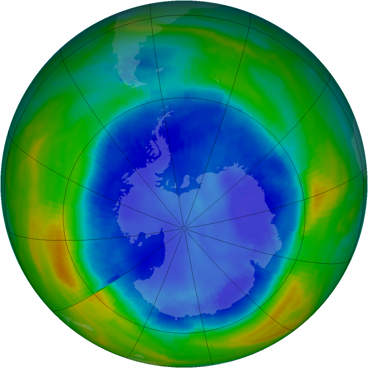 Antarctic ozone map for 25 August 1998