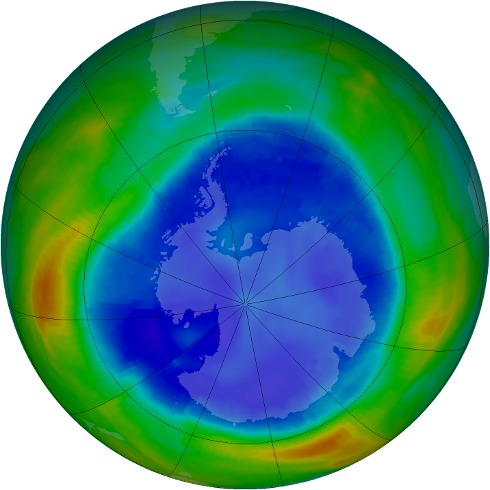 Antarctic ozone map for 26 August 1998