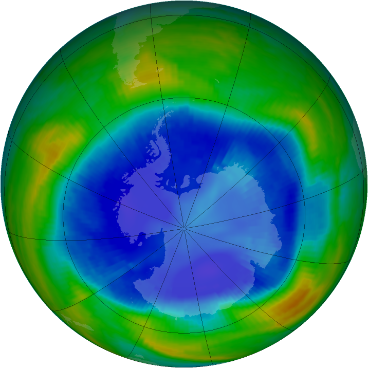 Antarctic ozone map for 28 August 1998