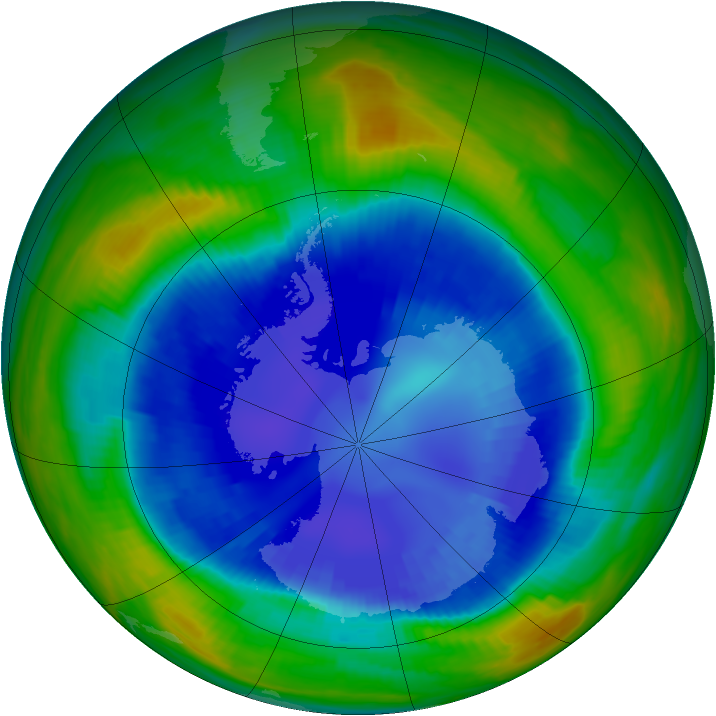 Antarctic ozone map for 29 August 1998