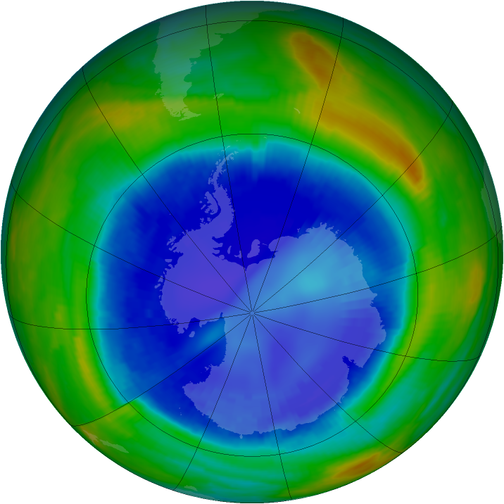Antarctic ozone map for 30 August 1998