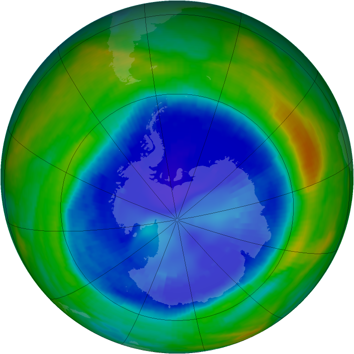 Antarctic ozone map for 31 August 1998