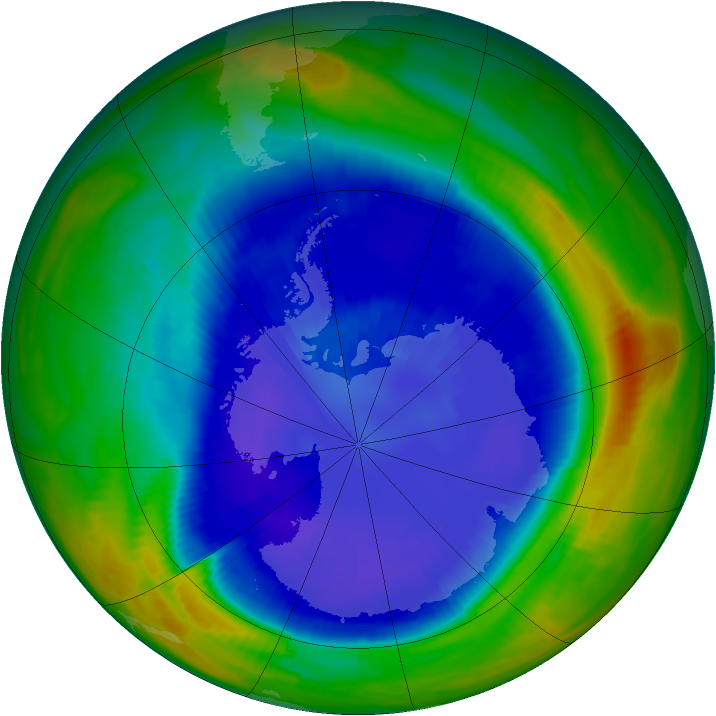 Antarctic ozone map for 08 September 1998