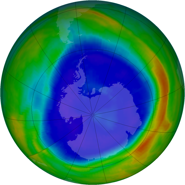 Antarctic ozone map for 09 September 1998
