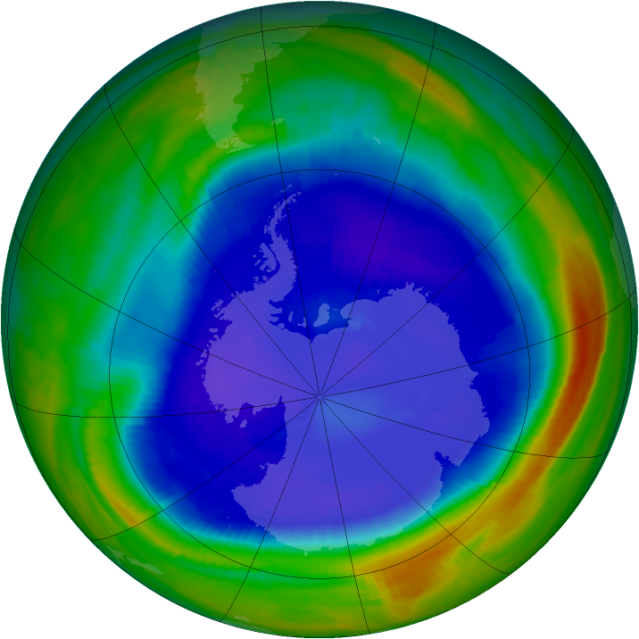 Antarctic ozone map for 10 September 1998