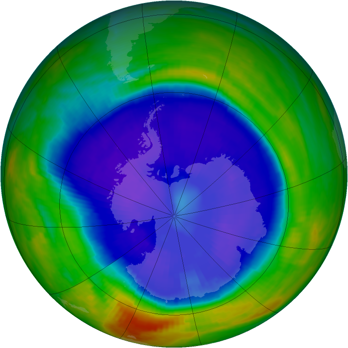 Antarctic ozone map for 15 September 1998