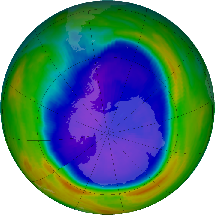 Antarctic ozone map for 18 September 1998