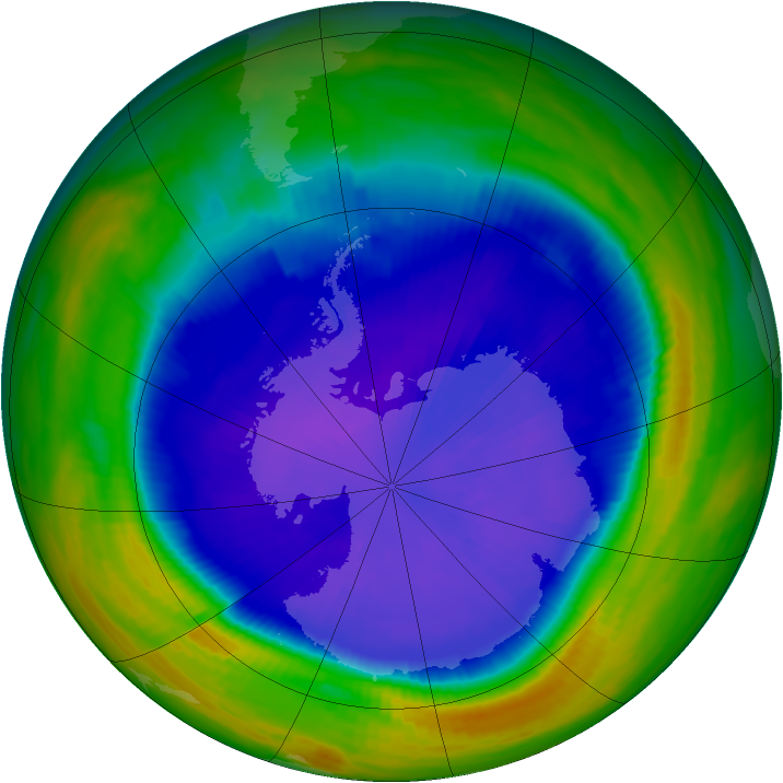 Antarctic ozone map for 19 September 1998