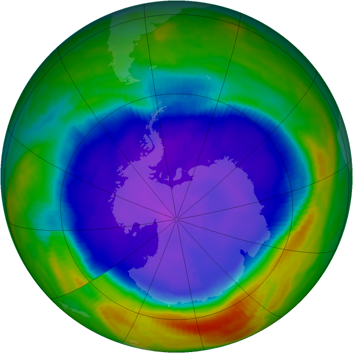 Antarctic ozone map for 24 September 1998