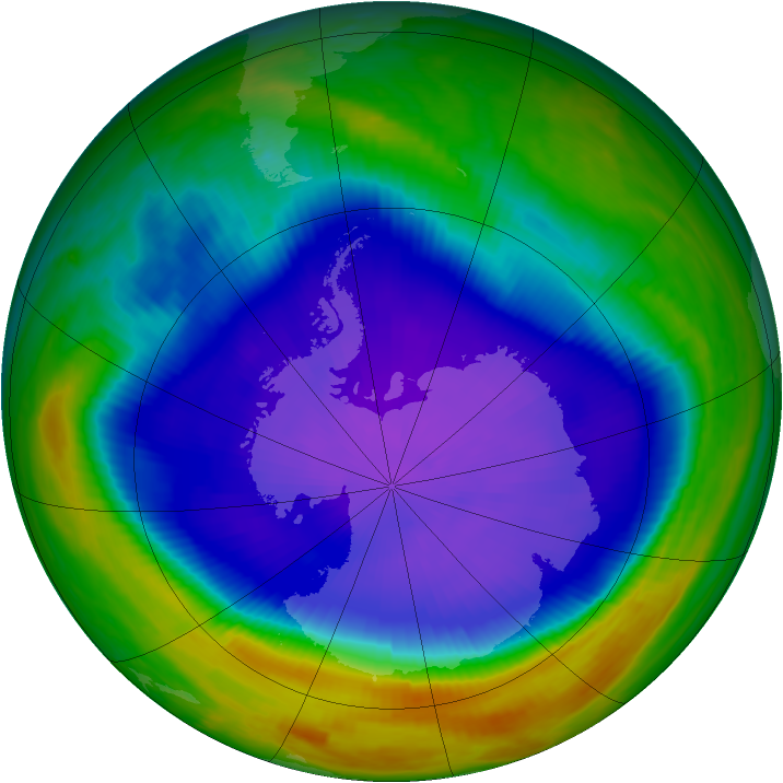 Antarctic ozone map for 26 September 1998