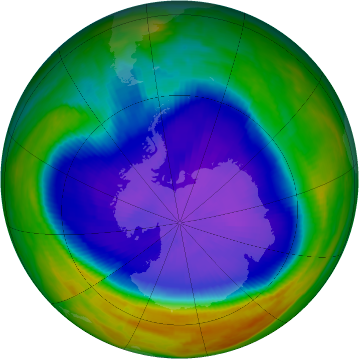 Antarctic ozone map for 27 September 1998