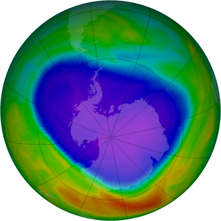 Antarctic ozone map for 29 September 1998