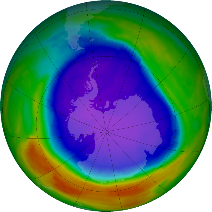 Antarctic ozone map for 01 October 1998