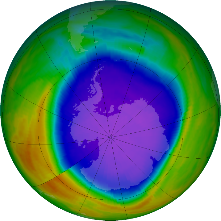 Antarctic ozone map for 03 October 1998