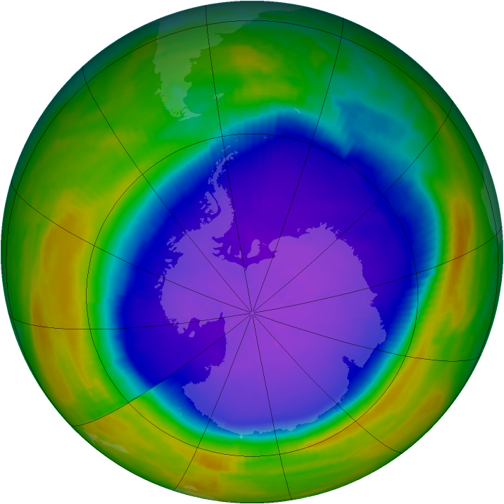 Antarctic ozone map for 06 October 1998
