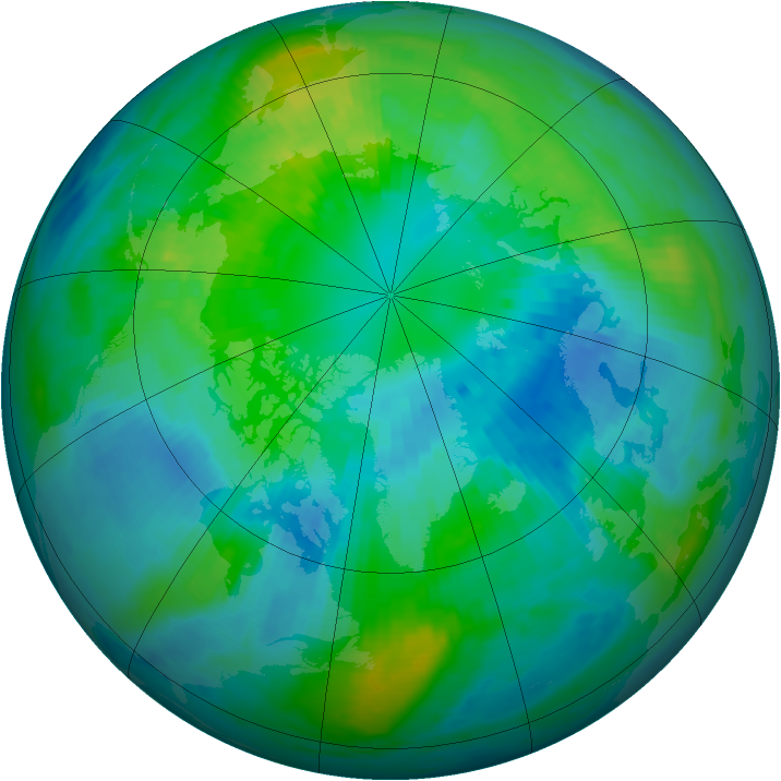 Arctic ozone map for 07 October 1998