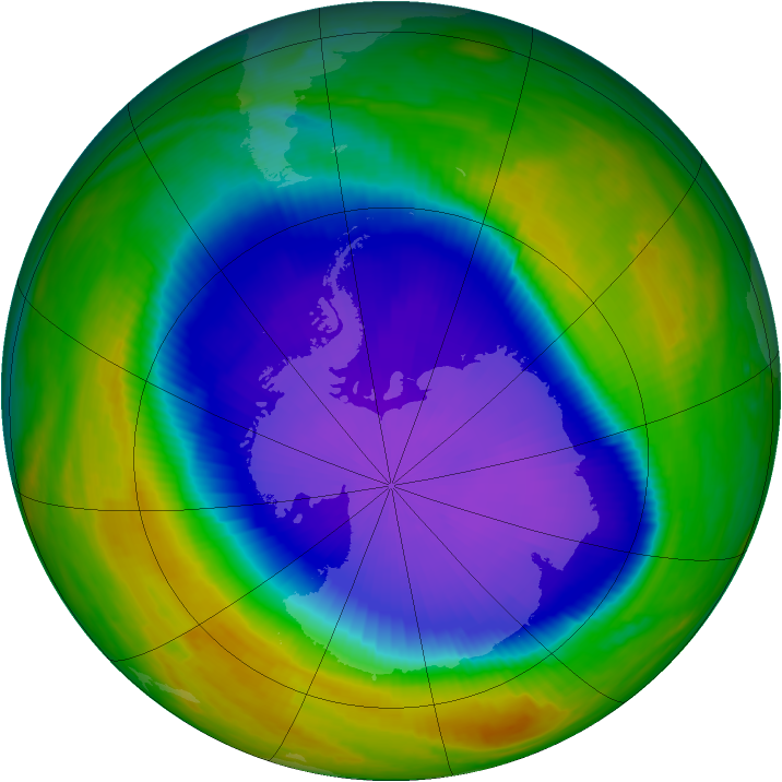 Antarctic ozone map for 10 October 1998