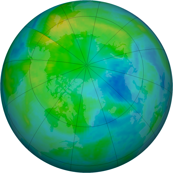 Arctic ozone map for 11 October 1998