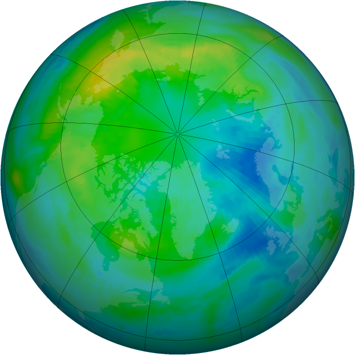 Arctic ozone map for 12 October 1998