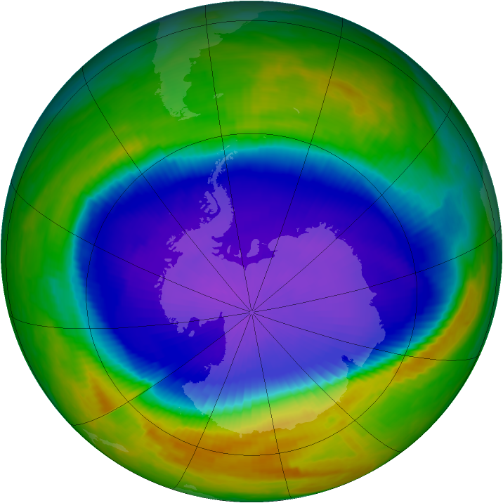 Antarctic ozone map for 16 October 1998