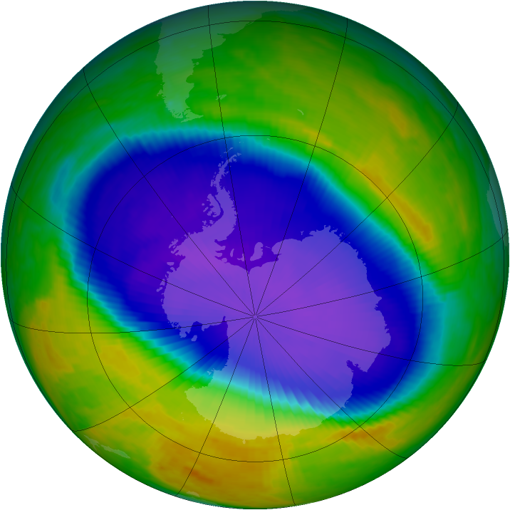 Antarctic ozone map for 18 October 1998