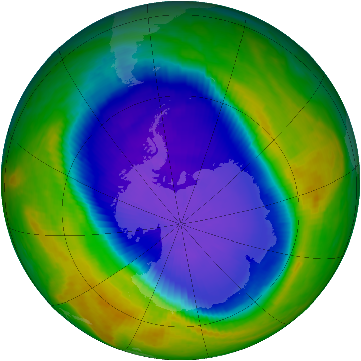 Antarctic ozone map for 20 October 1998
