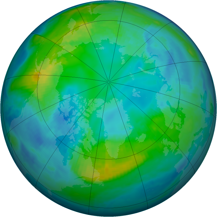Arctic ozone map for 26 October 1998
