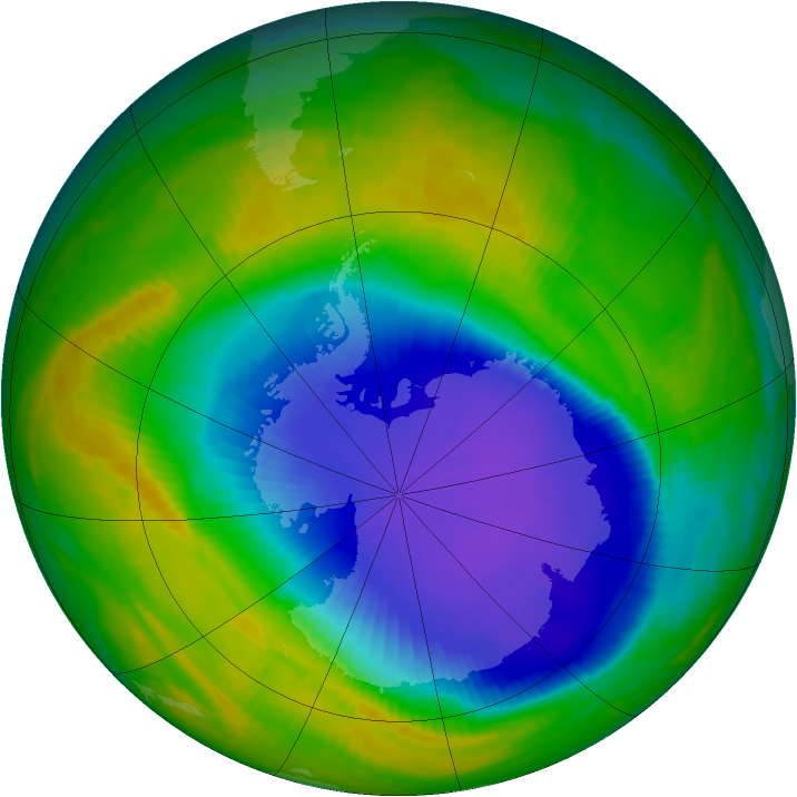 Antarctic ozone map for 29 October 1998