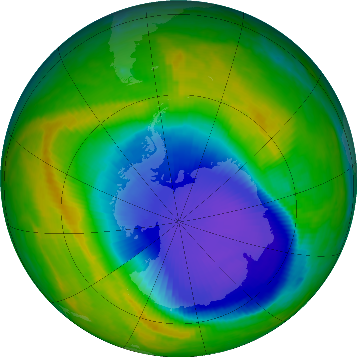Antarctic ozone map for 30 October 1998