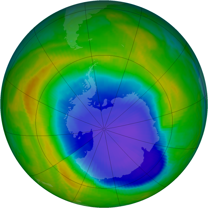 Antarctic ozone map for 31 October 1998