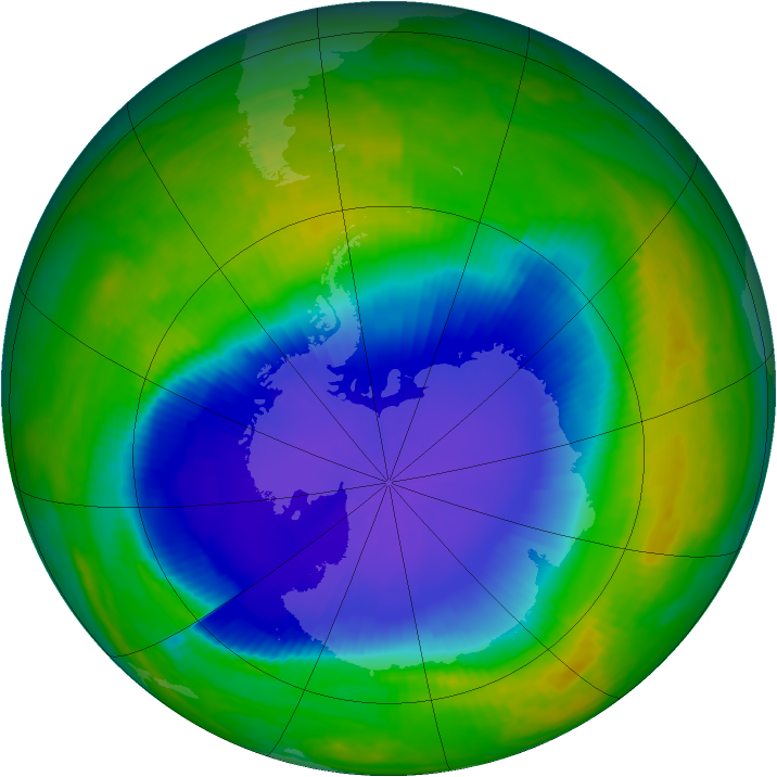 Antarctic ozone map for 04 November 1998