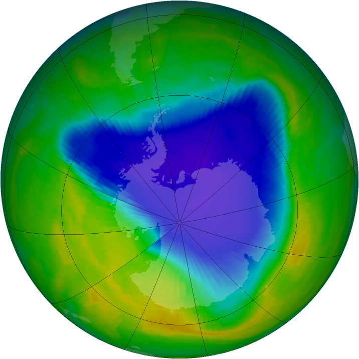 Antarctic ozone map for 09 November 1998