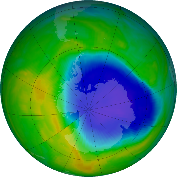 Antarctic ozone map for 16 November 1998