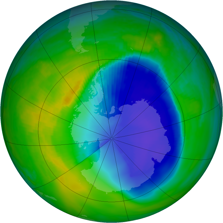Antarctic ozone map for 18 November 1998