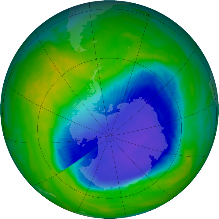 Antarctic ozone map for 20 November 1998