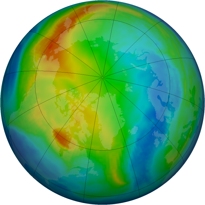 Arctic ozone map for 01 December 1998