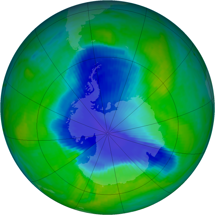 Antarctic ozone map for 04 December 1998