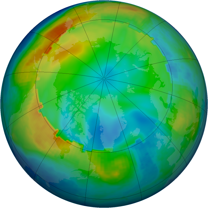 Arctic ozone map for 06 December 1998