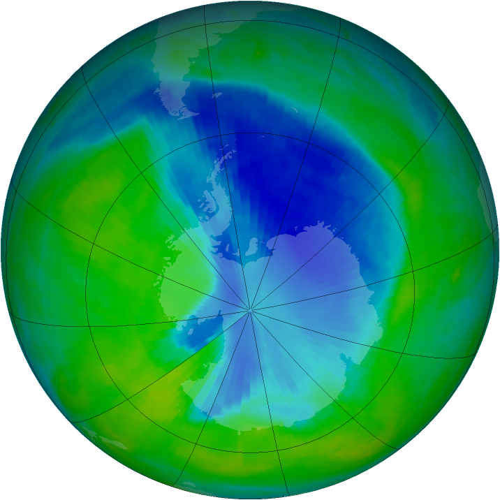 Antarctic ozone map for 08 December 1998